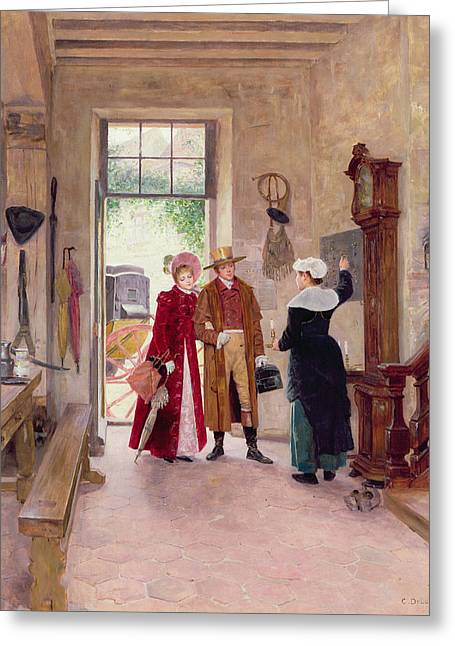 Hallways Greeting Cards - Arrival at the Inn Greeting Card by Charles Edouard Delort