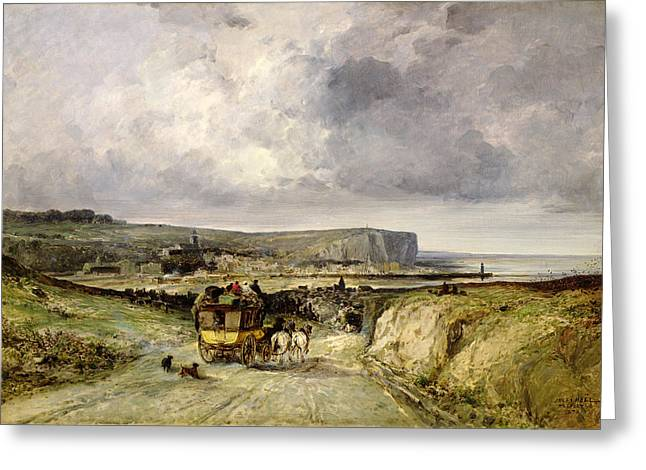 Grey Clouds Greeting Cards - Arrival of a Stagecoach at Treport Greeting Card by Jules Achille Noel