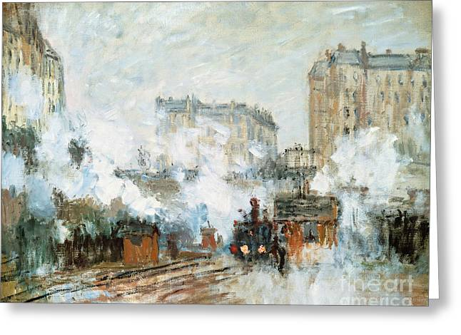 Arrival Of A Train Greeting Card by Claude Monet