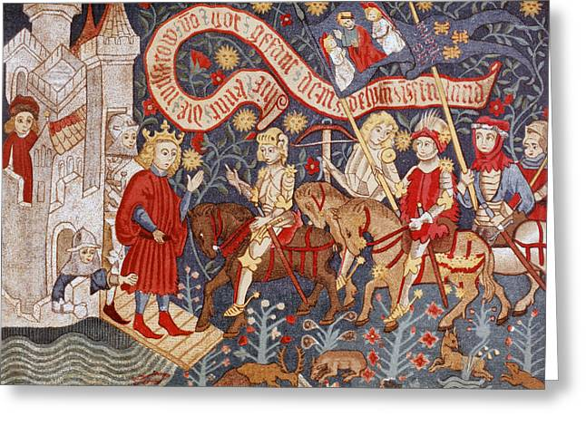 Chateau Drawings Greeting Cards - Arrival Of Joan Of Arc At The Chateau Greeting Card by Vintage Design Pics