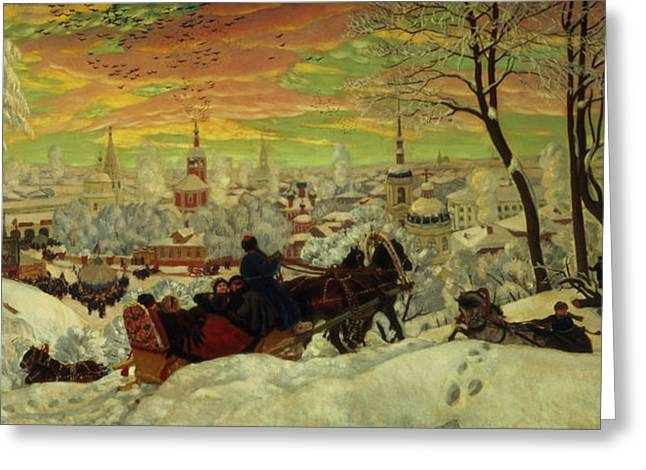 Slush Greeting Cards - Arriving for the Holidays Greeting Card by Boris Mihajlovic Kustodiev