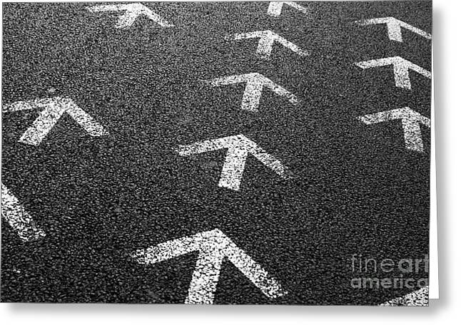 Straight Greeting Cards - Arrows on Asphalt Greeting Card by Carlos Caetano