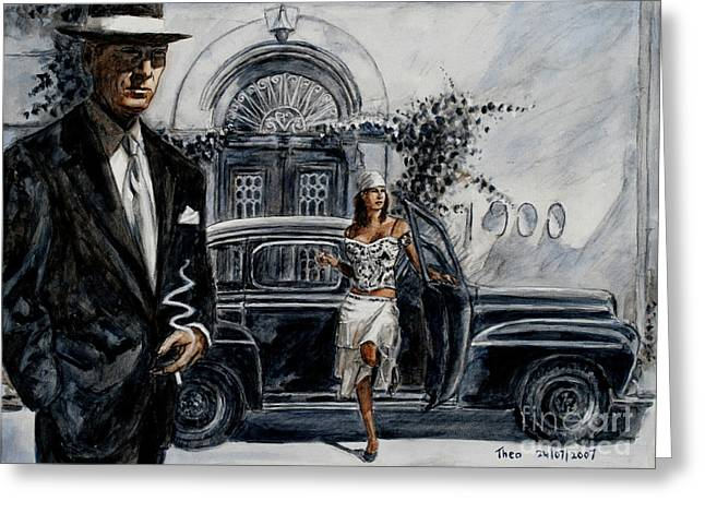 Film Noir Paintings Greeting Cards - Art Cafe 1900 Greeting Card by Theo Michael