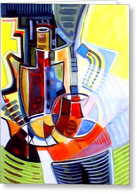 Table Wine Greeting Cards - Art De Vivre Greeting Card by Therese AbouNader