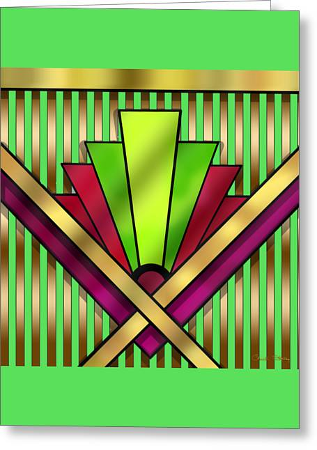 Staley Art Greeting Cards - Art Deco 13 Transparent Greeting Card by Chuck Staley
