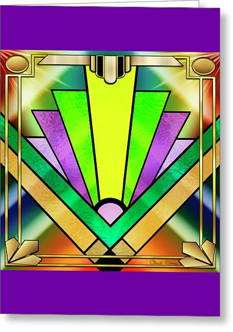 Art Deco Chevron 3 - Chuck Staley Greeting Card by Chuck Staley