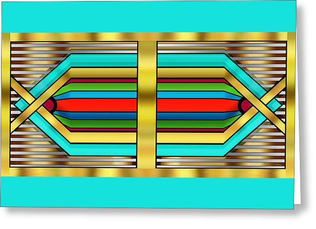 Staley Art Greeting Cards - Art Deco 17 Horizontal Greeting Card by Chuck Staley