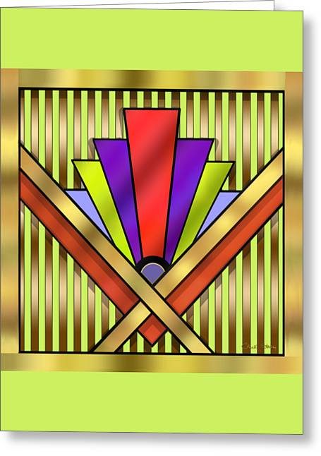Staley Art Greeting Cards - Art Deco 16 Transparent Greeting Card by Chuck Staley