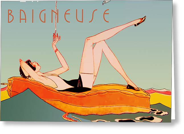 Art Deco Beach Bather Greeting Card by Mindy Sommers