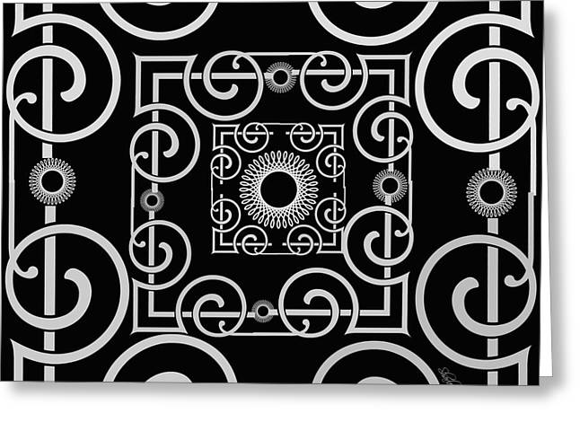 Black Tapestries - Textiles Greeting Cards - Art Deco Black and Grey Greeting Card by Sharon Johnston