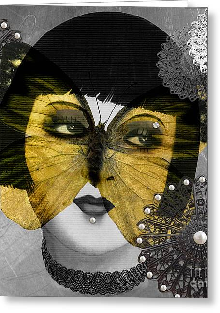 Beautiful Face Greeting Cards - Art Deco Butterfly Woman Greeting Card by Mindy Sommers