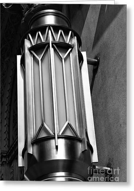 City Art Greeting Cards - Art Deco Design mono Greeting Card by John Rizzuto