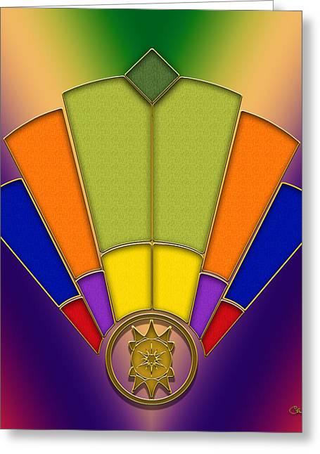 Art Deco Fan 6 - Chuck Staley Greeting Card by Chuck Staley