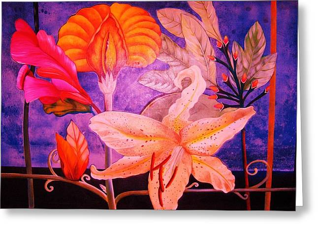 Gay Art Framed Giclee On Canvas Greeting Cards - Art Deco Flowers I - ART DECO Greeting Card by Gunter  Hortz