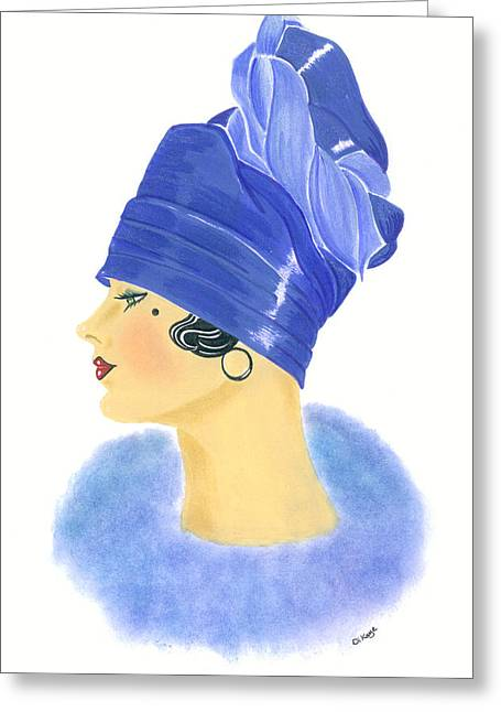 Cloche Hat Greeting Cards - Art Deco Lady - Clarissa Greeting Card by Di Kaye