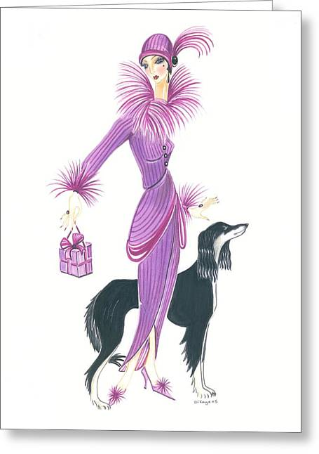 Art Deco Lady - Esta And Ebony Greeting Card by Di Kaye