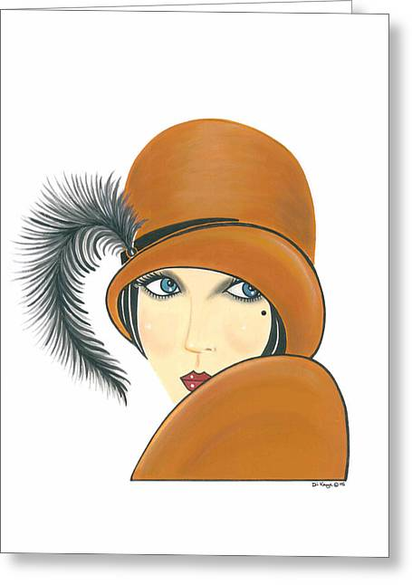Art Deco Lady - Ginger Greeting Card by Di Kaye