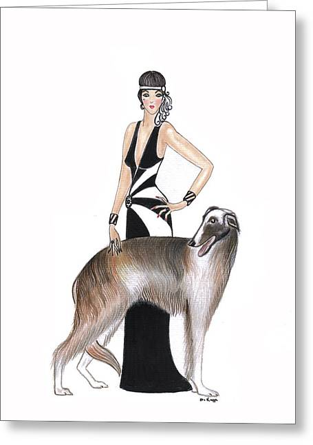 Art Deco Lady - Katarina And Tsar Greeting Card by Di Kaye