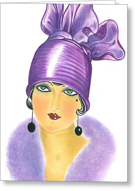 Cloche Hat Greeting Cards - Art Deco Lady - Phoebe Greeting Card by Di Kaye
