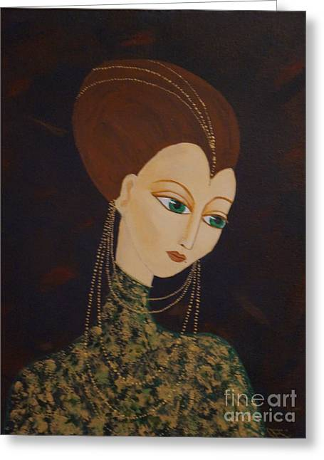 Erte Greeting Cards - Art Deco Lady Greeting Card by Denise Fleming
