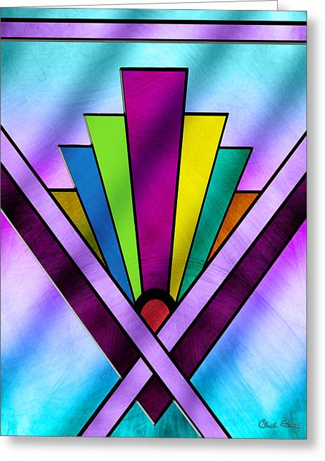 Staley Art Greeting Cards - Art Deco Pattern 10V Greeting Card by Chuck Staley