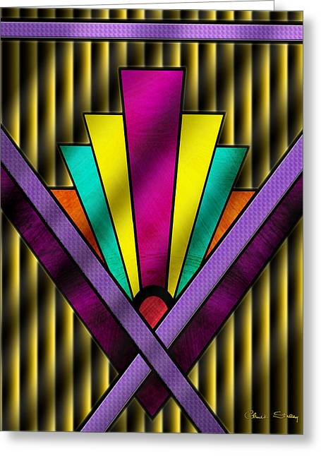 Staley Art Greeting Cards - Art Deco Pattern 11V Greeting Card by Chuck Staley