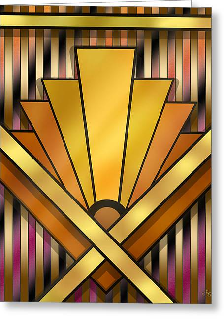 Staley Art Greeting Cards - Art Deco Pattern 12 Greeting Card by Chuck Staley