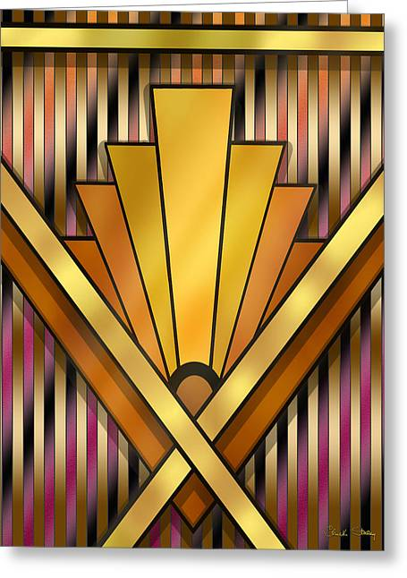 Staley Art Greeting Cards - Art Deco Pattern 12V Greeting Card by Chuck Staley