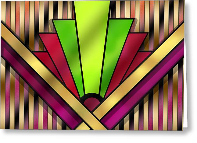 Patterned Greeting Cards - Art Deco Pattern 13 Greeting Card by Chuck Staley