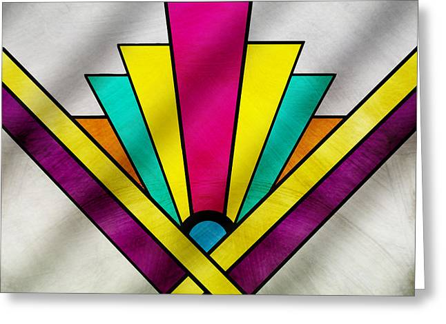 Tile Drawings Greeting Cards - Art Deco Pattern 9 Greeting Card by Chuck Staley