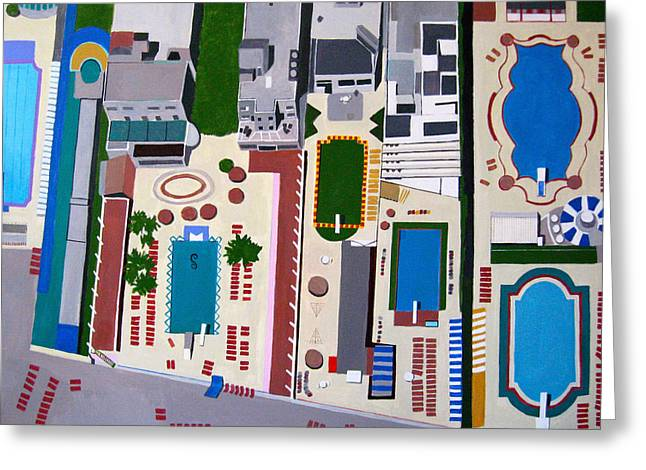 On High Greeting Cards - Art Deco Pools Greeting Card by Toni Silber-Delerive