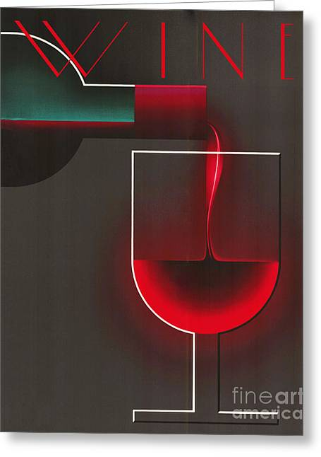 Art Deco Red Wine Greeting Card by Mindy Sommers