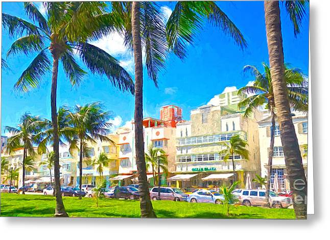 Beach Photography Greeting Cards - Art Deco Style Greeting Card by Judy Kay