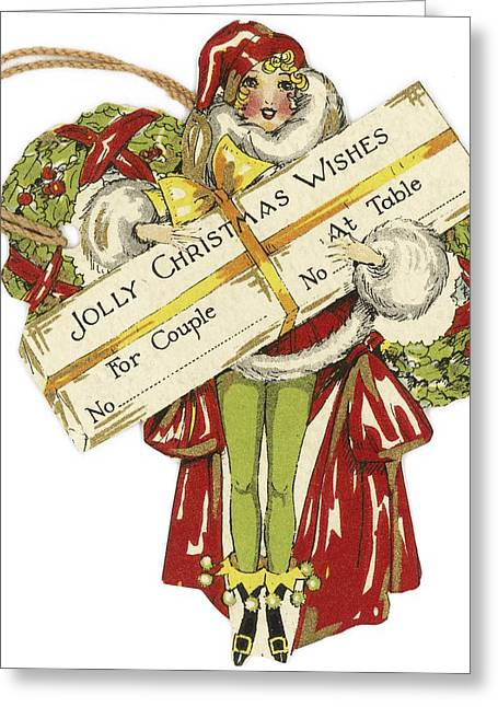 Make Believe Greeting Cards - Art Deco-style Woman Holding Present Greeting Card by Gillham Studios