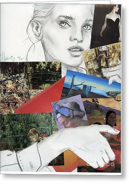 Pretty Girls Mixed Media Greeting Cards - Art History Buff Greeting Card by P J Lewis