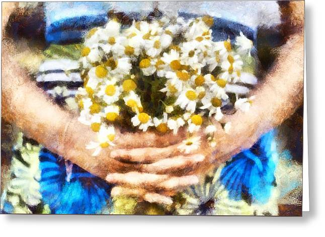 Art Illustration. Watercolor Painting. Beautiful Wedding Bouquet Of Flowers Chamomile In Hands Of Ya Greeting Card by Andrew Stepovoy