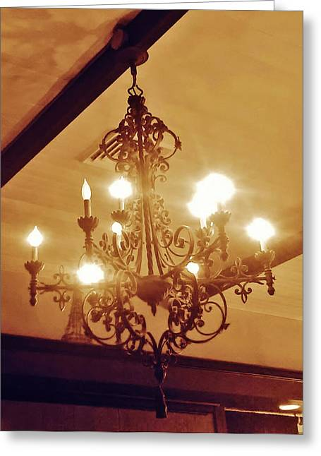 Sepia Chandeliers Greeting Cards - Art in Iron Greeting Card by Kim Derington - Tillman