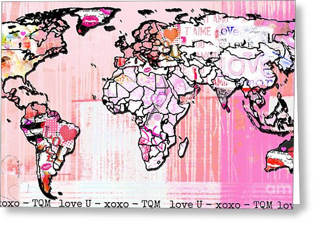 Art Map Pink Love Greeting Card by WALL ART and HOME DECOR