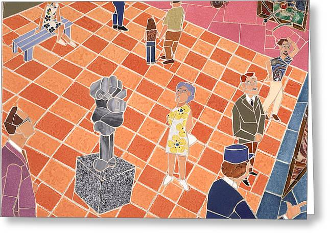 Interior Scene Mixed Media Greeting Cards - Art Museum Gallery II Greeting Card by Jonathan Mandell