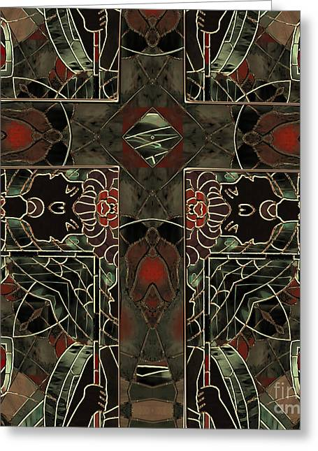 Stained Glass Greeting Cards - Art Nouveau Crucifix Greeting Card by Mindy Sommers