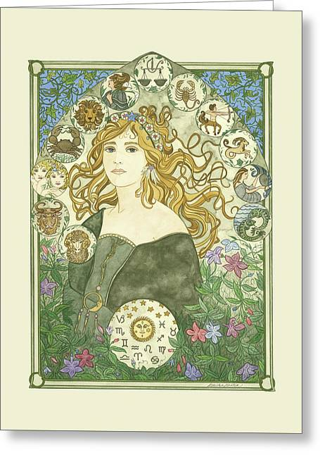Art Nouveau Goddess Of Astrology Greeting Card by Dee Van Houten