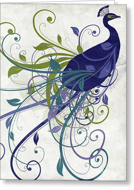 Art Nouveau Peacock I Greeting Card by Mindy Sommers