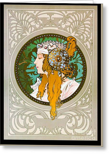 Flowing Blonde Hair Greeting Cards - Art Nouveau Profile 1895 Greeting Card by Padre Art