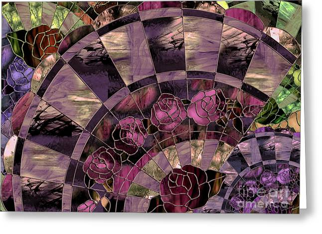 Art Nouveau Stained Glass Fan Greeting Card by Mindy Sommers