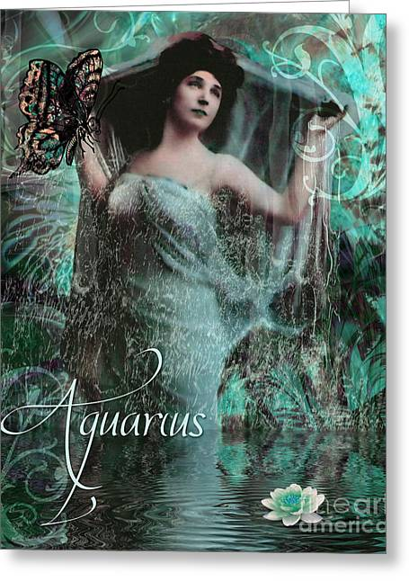 Art Nouveau Zodiac Aquarius Greeting Card by Mindy Sommers