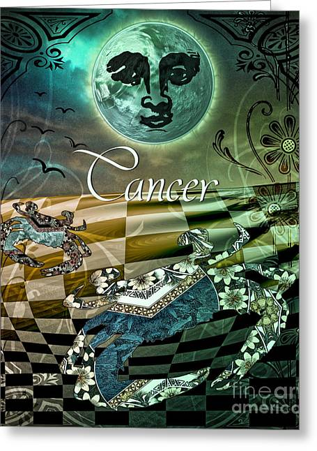 Cancer Greeting Cards - Art Nouveau Zodiac Cancer Greeting Card by Mindy Sommers