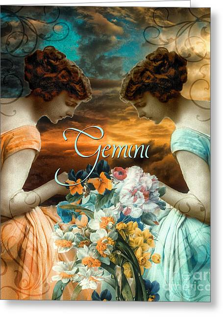 Signs Of The Zodiac Paintings Greeting Cards - Art Nouveau Zodiac Gemini Greeting Card by Mindy Sommers