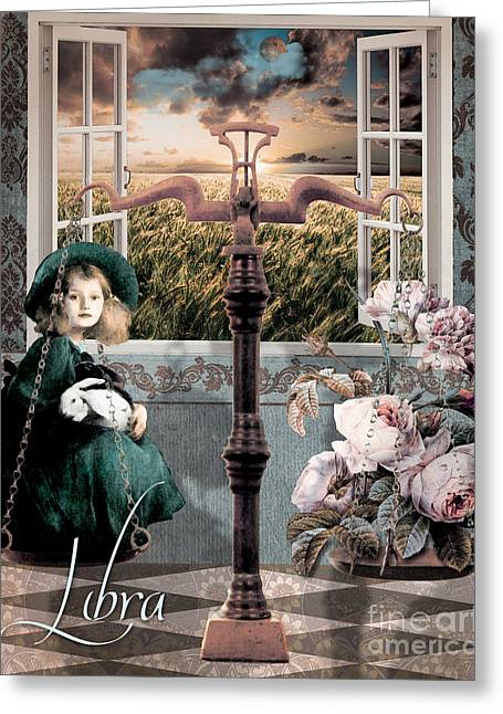 Planet Paintings Greeting Cards - Art Nouveau Zodiac Libra Greeting Card by Mindy Sommers