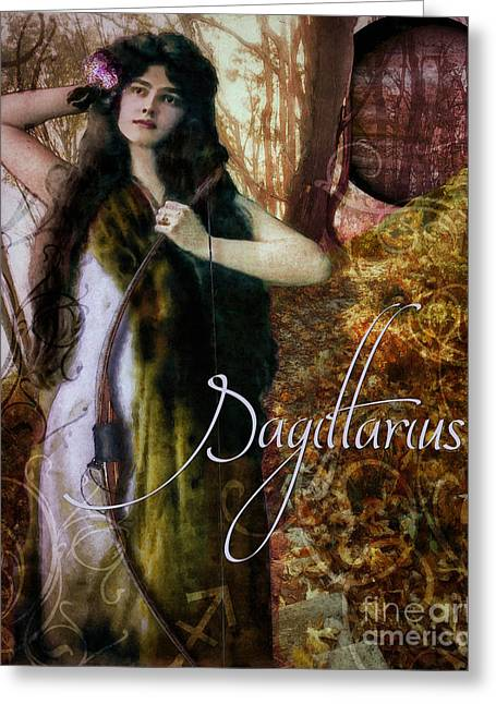 Signs Of The Zodiac Paintings Greeting Cards - Art Nouveau Zodiac Sagittarius Greeting Card by Mindy Sommers