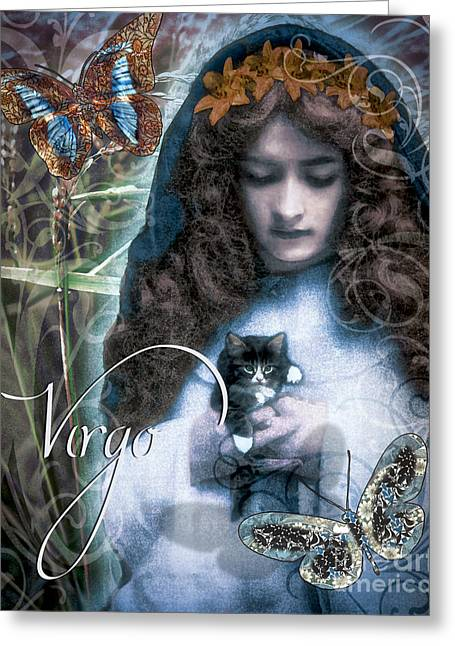 Virgo Greeting Cards - Art Nouveau Zodiac Virgo Greeting Card by Mindy Sommers